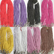 New 10/50Pcs Leather Braid Rope Cord Wire Lobster Clasp Chain Necklace 46cm
