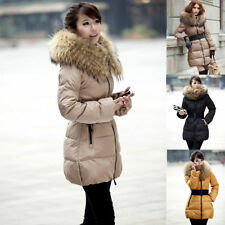 Lady's Women's Goose Down Jacket Long Coat Thicken Belted Fur Collar Winter Warm