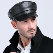 Men's Genuine Leather Beret Cap Golf Driving Military Cadet Hat  Newsboy Basebal