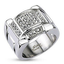 316L Stainless Steel Multi-Pave 0.90 Carat CZ Ring Size 8-12