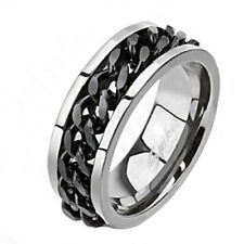 Solid Titanium w/ Black Spinning Chain Link Stripe Men's Band Ring Size 9-14