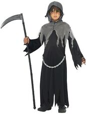 Child Boys Grim Reaper Halloween Horror Robe Kids Fancy Dress Costume