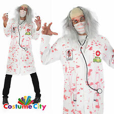 Adult Zombie Doctor Bloody Surgeon Lab Coat Halloween Fancy Dress Party Costume
