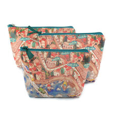 Cosmetic Bags Zipped Make-Up Bag Set Leather Effect Harbour Maps 2 Boats At Sea