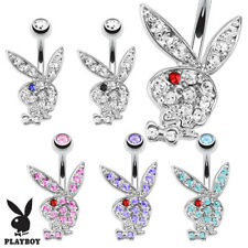 Surgical Steel Multi Paved Gems Licensed PlayBoy Bunny Belly Button Navel Ring