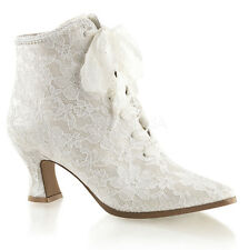 Ivory White Lace Victorian Bridal Wedding Shoes Boots Womans size 6 7 8 9 10 11