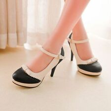 Elegant Ladies Bowtie High Heel Platform Court Round Toe Ankle Strap Pumps Shoes