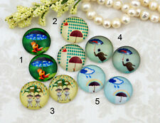 12mm 16mm 20mm cab Handmade Photo glass cabochon umbrella rain Grey blue 12M007