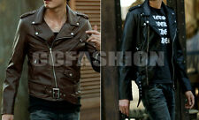 New Men's Fashion Stylish Zip Slim Trench Coat Leather Jacket Outwear 2 Colors