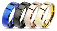 316L Stainless Steel Flat Beveled Edge 6mm or 8mm Band Ring Choose Color Sz 5-14