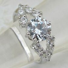 size 5 5.5 7 hot nice classy clear white 7*7mm cz gems gold filled ring r1455-26