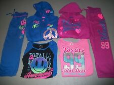 SO 3 PC ACTIVE SET HOODIE TOP & PANTS OUTFIT VARSITY PEACE LOVE GIRLS SZ M 10 12