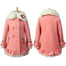 New Girls Lace Winter Coat Wool Kids Warm Long Jacket Parka Clothes 6~15Y FT1156