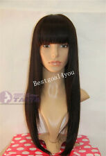 """Indian Remy Human Hair 130% Density 14""""-22"""" silk straight full Wig With bang"""