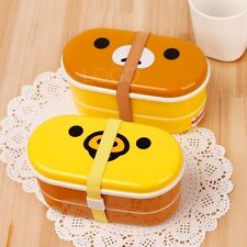 New Cute 2 Tier Lunch Box Bento with Cartoon Pattern High Heat Resistance