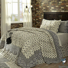 Grey Black Damask Print Paris Themed Country Cotton Quilt Bedding Set Collection
