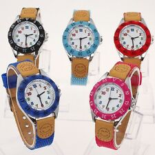 New Fashion Fabric Strap Children's Boy Girls Learn Time Quartz Wristwatch U32