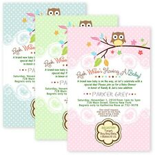 Tree OWL Baby Shower Party Invitations Custom Personalized Boy Girl Twin