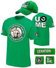 John Cena Boys Green Kids Costume T-shirt Hat Wristbands