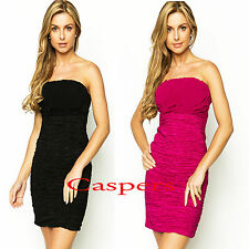 Ladies Strapless Party Pleat Detail Bandeau Fitted Lined Dress n Black or Cerise