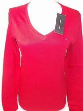 TOMMY HILFIGER red womens v neck long sleeves with flag logo new nwt