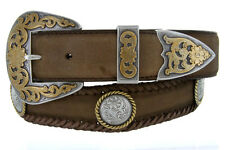 New Men's Lord Jim Western Gold Rope Edge Concho Leather Cowboy Belt Black Brown