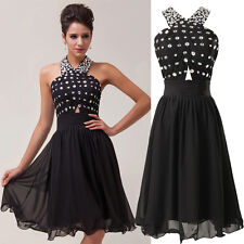 NEW Knee Length Halter Short Bridesmaid Cocktail Party Evening Homecoming Dress