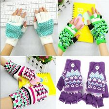 NEW 1Pair Warm Womens Knit Flip Fingerless/Full Finger Gloves Mittens Gloves G89