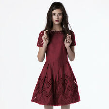 Dear Creatures Piper Berry Embroidered Mod Fit and Flare Dress ModCloth XS S M L