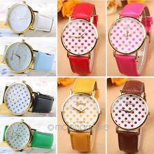 1x 38mm Geneva Girl Women Leather Small Dots Watch Quartz Wrist Watch Xmas Gift