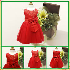 Reds Christening Communion Christmas Flower Girls Dresses SIZE 0 3 6 9 12 18Mths