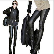 Ladys Winter Vogue Thicken PU Leather Pieced Leggings Skinny Tights Pencil Pants