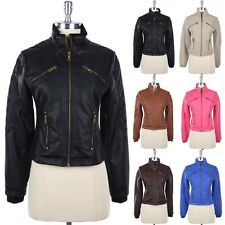 Quilted Detail PU Faux Leather Motorcycle Rider Jacket Full Zippered Front S M L