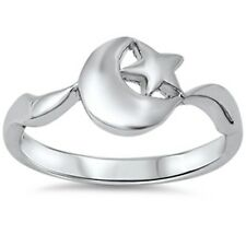 Solid Moon & Star  .925 Sterling Silver Ring Sizes 4-10