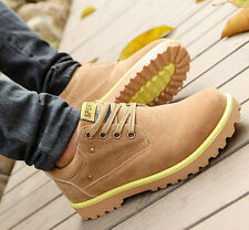 Men's Winter Casual Suede Leather High Top Military Comfy Shoes Ankle Warm Boots