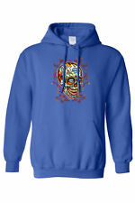 UNISEX PULLOVER HOODIE A Laughing Skull MEXICAN ROSES SKELETON DIAMONDS S-5XL