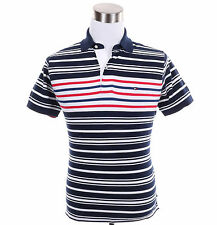 Tommy Hilfiger Men Short Sleeve Stripe Classic Fit Pique Polo Shirt - Free Ship