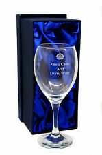 8oz Wine Glass with Keep Calm and Drink Wine Logo and Gift Box, Engraved Gift