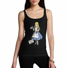 Women Cotton Novelty Fantasy Theme Curious Alice Drink Tank Top