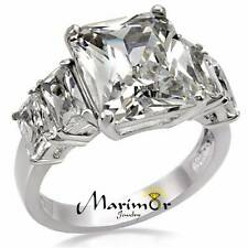 9.50 CT RADIANT CUT ZIRCONIA STAINLESS STEEL ENGAGEMENT RING WOMEN'S SIZES 5-10
