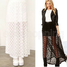 Sexy Womens See-through Mesh Long Maxi Skirts Elastic Waist Boho Skirts Dress