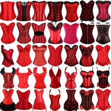 Red Sexy Lady Corset top Overbust Lace-up Waist Cincher Bustier Christmas Party