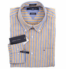 Tommy Hilfiger Men Long Sleeve Custom Fit Button Down Stripe Casual Shirt $0Ship