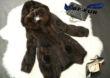 Natural Mink Fur with Hooded Jackets Real Fur Vests Waistcoats New Fashion C0036