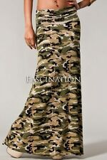 FOLD OVER WAIST USA ARMY CAMOUFLAGE CAMO PRINT MILITARY LONG MAXI SKIRT S M L