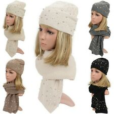 Women Faux Pearl Beaded Knitted Winter Warm Soft Beanie Beret Hat Scarf Wrap Set
