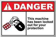 """Danger Sign This Machine Has Been Locked Out For You"" aluminum metal sign OSHA"