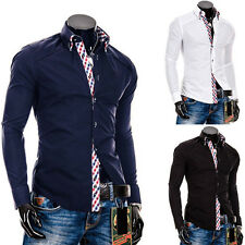 Men's Plaid Collage Casual Formal Stylish Slim Fit Long Sleeve Dress Shirts Tops