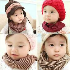 Kid Toddler Boy Girl Winter Warm Snood Scarf   Neckerchief Striped Scarves 6M-3Y