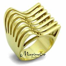 STAINLESS STEEL 316L 14K GOLD ION PLATED  FASHION RING 22mm WIDE WOMEN'S SZ 5-10